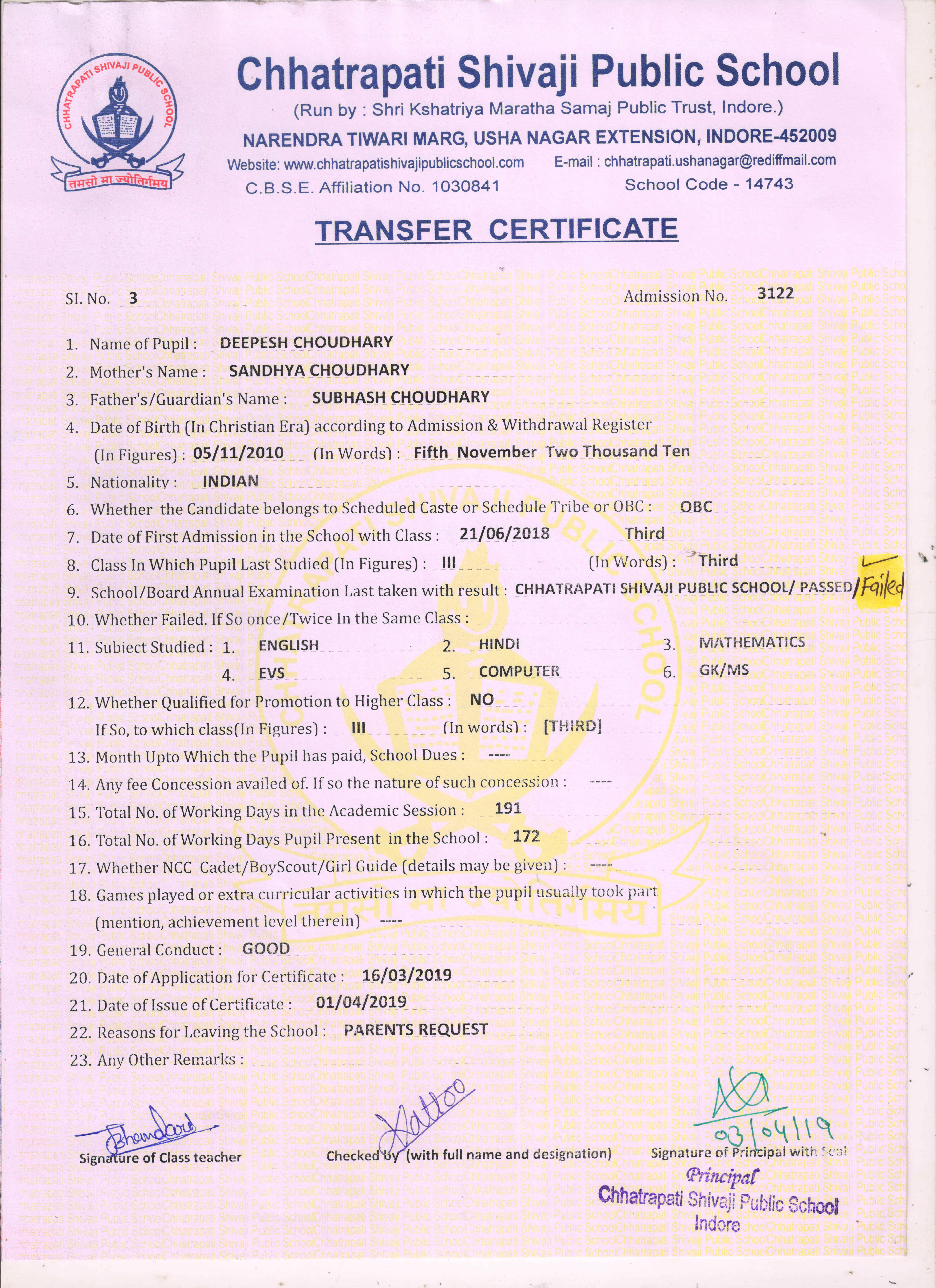 Deepesh Choudhary (TC) - Fail