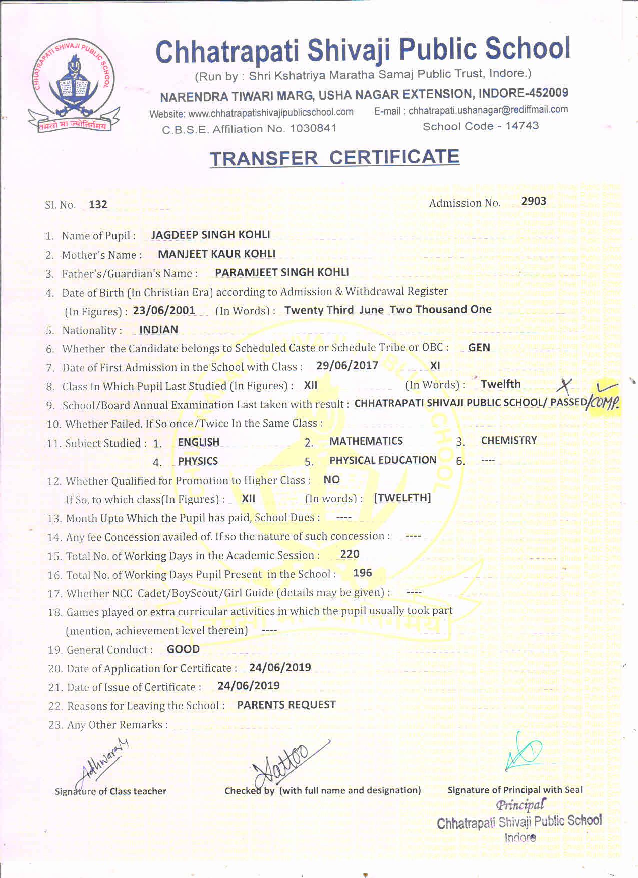 Jagdeep Singh Kohli (TC) - Comp.